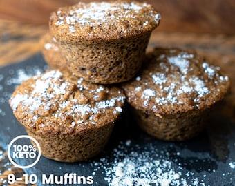 Keto Paleo Cinnamon Walnut Power Muffins - Dairy Free, High Protein, Low Carb, Grain Free, Gluten Free, Sugar Free, Diabetic Friendly