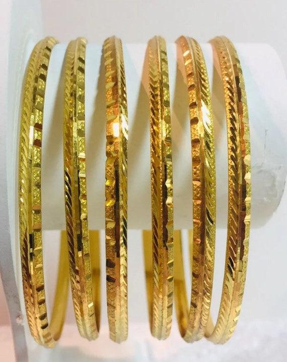 22ct Gold Plated Indian Traditional size 2.8 kada// Bangles Set uk seller