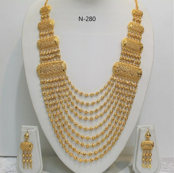 Indian Gold Plated Long Necklace Set Etsy