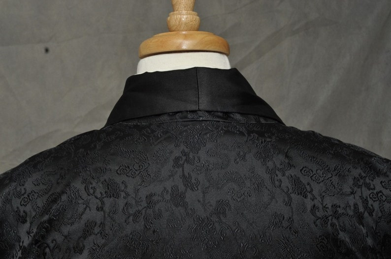 Black Satin Chinese Silk Style Smoking Jacket Hip Length cnmE0NnV