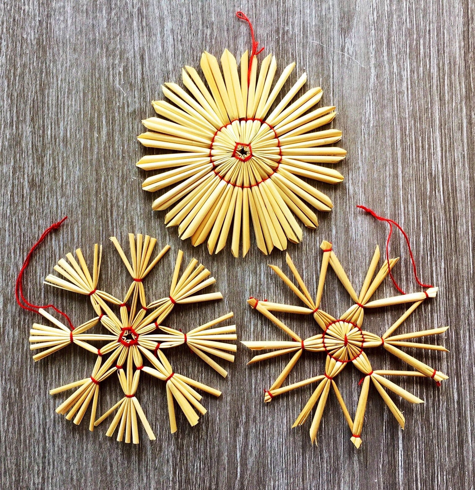 Vintage set of three Handmade German Straw Woven Star Snowflakes