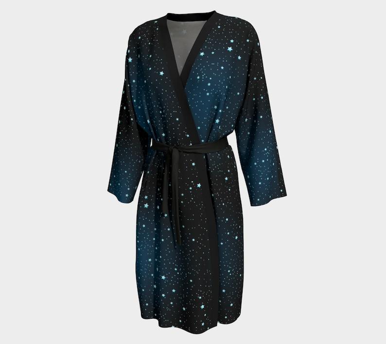 Astrology Robe Stardust Navy Peignoir Robe Gothic Robe Galaxy Peignoir Cosmic Robe Witchy Robe Galaxy Robe
