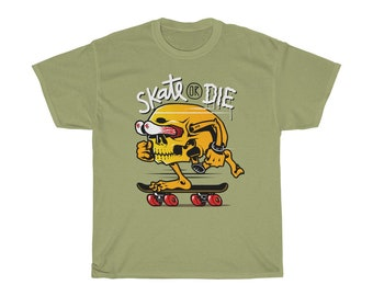 2004c8686ef4 Skate Or Die, Funny Skull, Skateboarder Gift, Unisex Heavy Cotton Tee