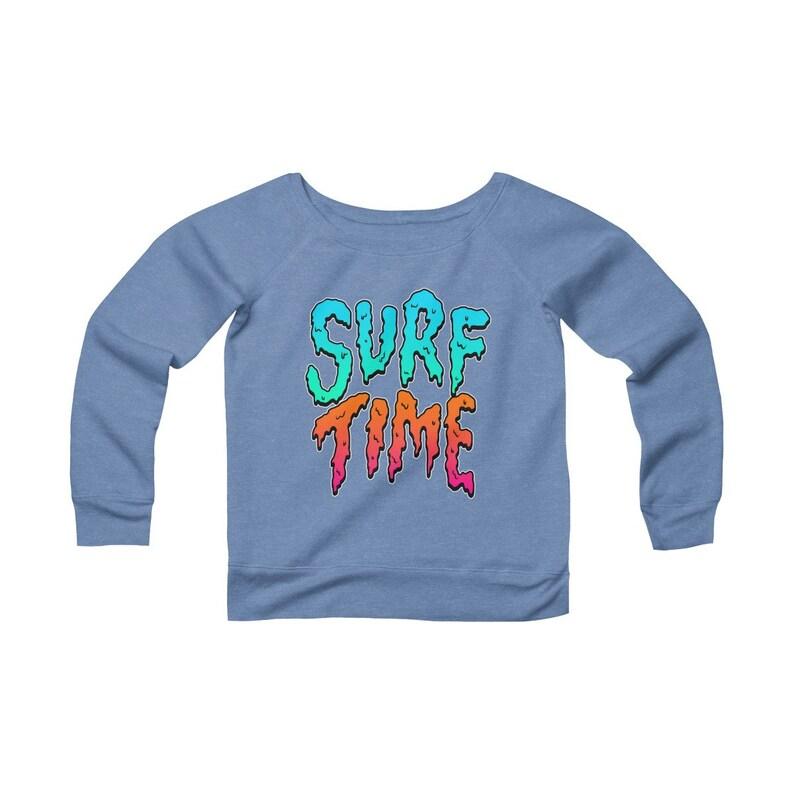 Surf Time Summer Beach Women/'s Sponge Fleece Wide Neck Sweatshirt