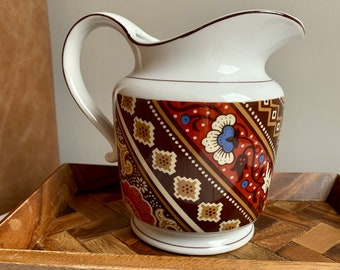with Ribbed Design and Rope on Neck Vintage Japanese Ceramic Pitcher Saki or Water Circa 1970/'s