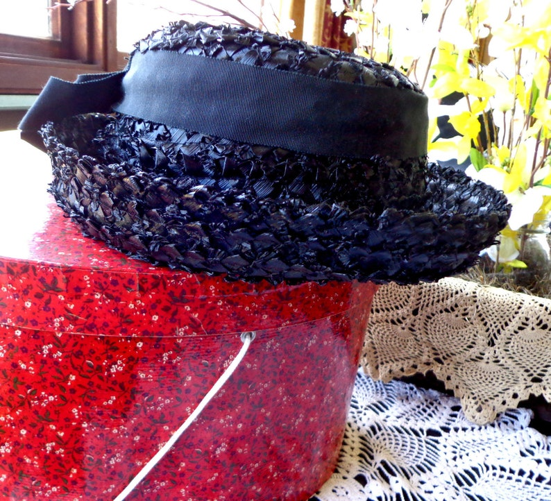 f8dd97d91ba Ladies Black Straw Boater Hat with Grosgrain Ribbon and Turned Up Brim by  Clover Lane, Size Large
