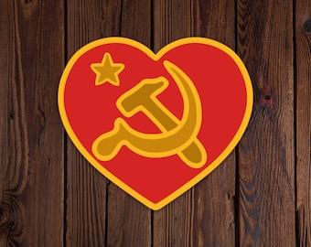 We Love Communism die cut vinyl sticker socialism sharing communist