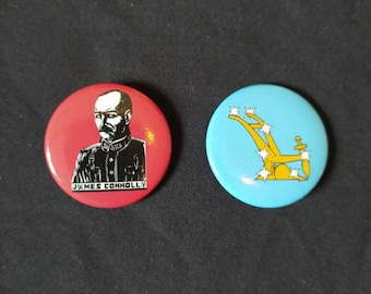 Irish republican socialist badge duopack-Communist, James Connolly, Starry Plough, socialist