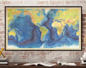 Ocean Floor Map Etsy