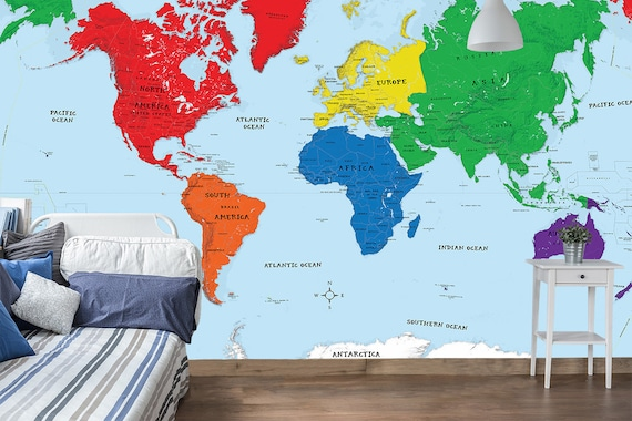 World Map Wall Mural Early Learning Kids Room World Map Etsy