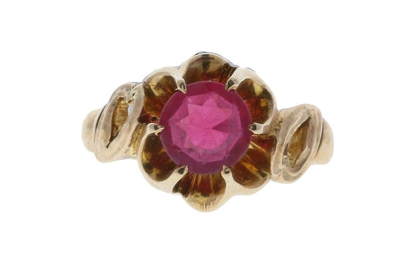 Yellow Gold Ring with Pink-Red Stone