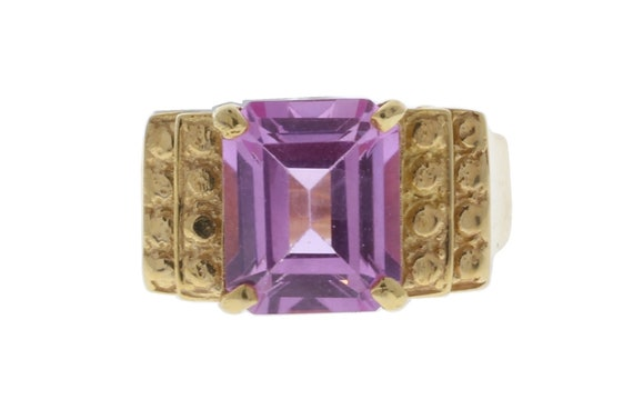 Yellow Gold with Pink Stone