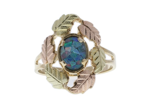 Black Hills Gold Yellow Gold Ring with Lab Opal