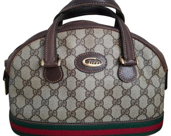47ee02a94 Vintage Gucci GG Monogram Supreme Sherry Web Boston Doctor Satchel