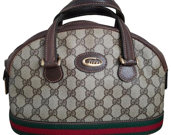 793d9e35f05 Vintage Gucci GG Monogram Supreme Sherry Web Boston Doctor Satchel