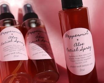 JUST RESTOCKED! Peppermint + Aloe Rose Water Facial Spray
