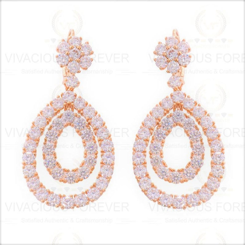 2.21ctw Forever One Round Cut Solitaire Highest Quality Moissanite Anniversary gift Lever Back Drop Dangle Earrings Real Solid 14k Rose Gold
