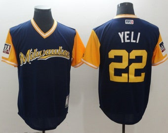 15a9caf8c Men s Milwaukee Brewers  22 Christian Yelich Navy Blue Stitched Baseball  Jersey