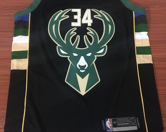 7c79b79a1 Men s Milwaukee Bucks  34 Giannis Antetokounmpo Black NBA Swingman  Statement Edition