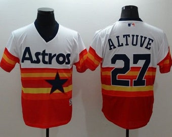 b8c29deb7 Men s Jose Altuve  27 Houston Astros Orange Stitched Baseball Jersey