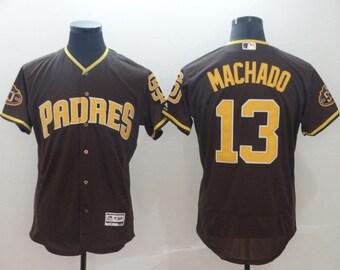 d4e2f985837 Men s Manny Machado  13 Baseball Jersey San Diego Padres Brown Flex Base