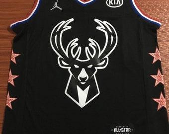 fbe740d7d Men s Milwaukee Bucks  34 Giannis Antetokounmpo Black NBA Jordan Swingman  2019 All-Star Game Jersey