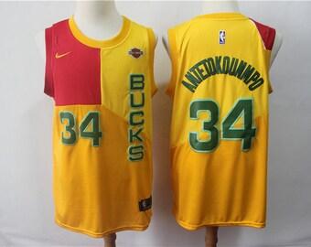 7021767f3 Men s Milwaukee Bucks  34 Giannis Antetokounmpo Yellow Swingman City Jersey