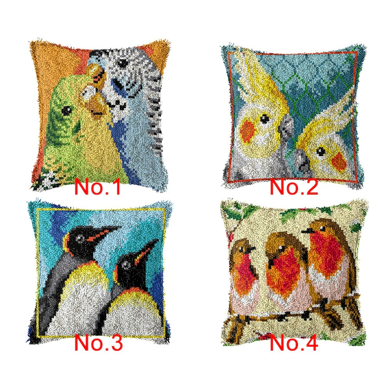 43x43cm Latch Hook Cushion Birds Lovers Pre-Printed Color image 0