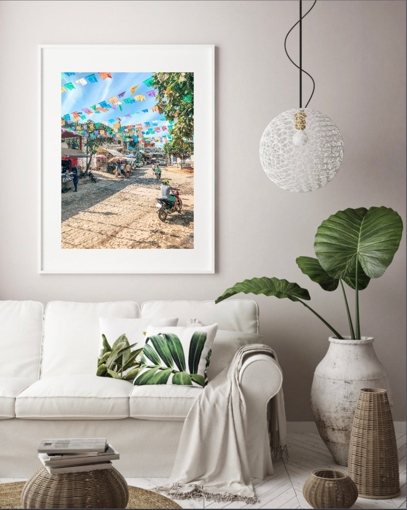 Download Vibrant Mexico Streets Wall Art and Cultural Print Gallery Wall and House Decor Downtown Sayulita Streets Photo