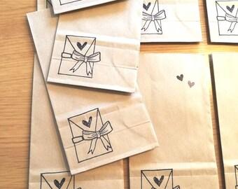 20 paper bags brown, paper bags, packaging bags brown, gift bags