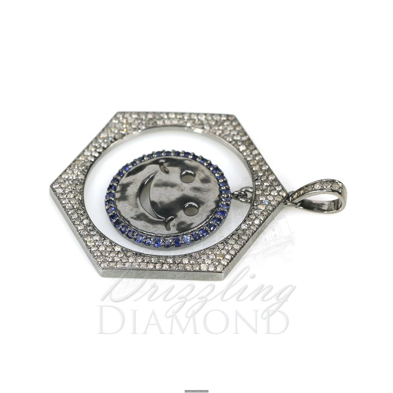 925 Sterling Silver Jewelry Happy Face Hexagon Pendant Sapphire Jewelry Natural Diamond Sapphire Pendant Gift For Her. Gemstone Pendant
