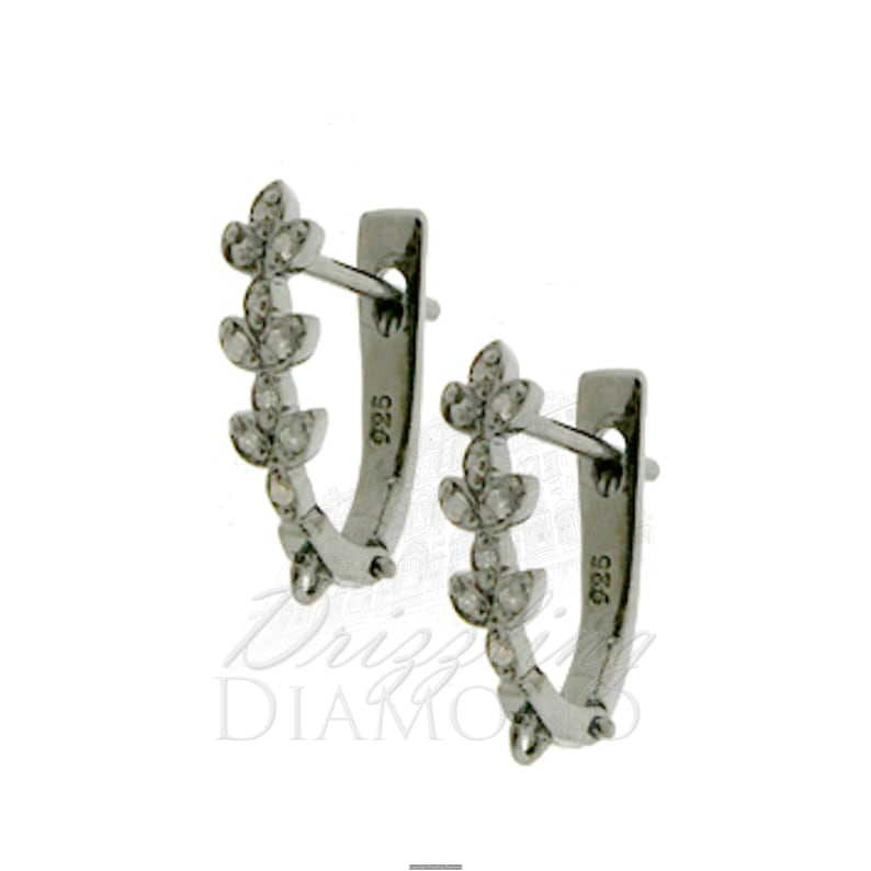 1.80 Grams Approx 0.12 TCW Natural Diamond Huggie Findings Earring 925 Sterling Silver Jewelry Statement Jewelry. 14mm x 4mm