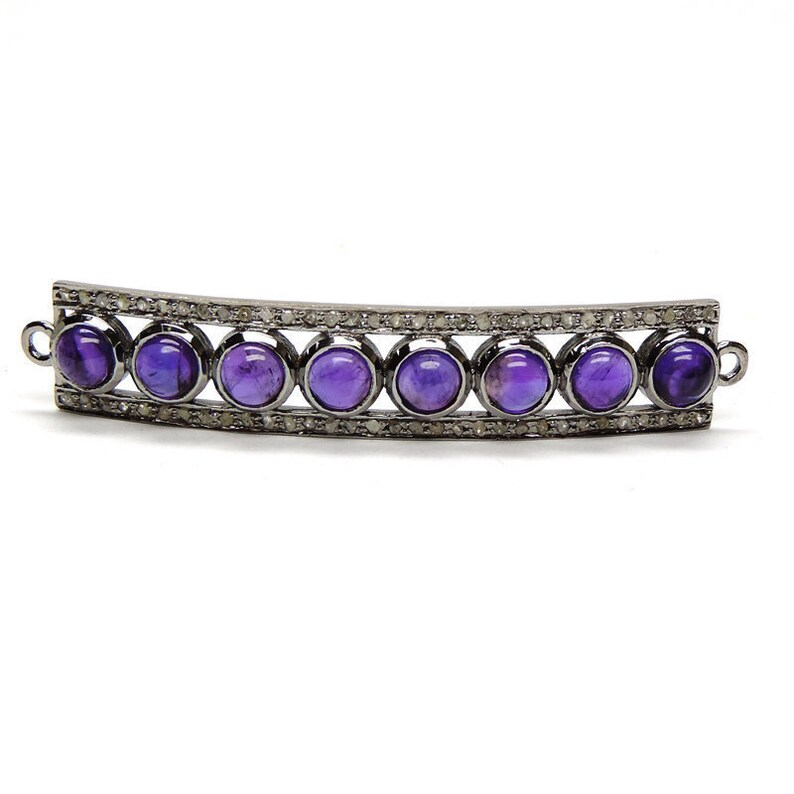 Natural Purple Amethyst Round Cab And Pave Diamond Bar Link Connector,925 Sterling Silver Finding,Diamond Link Connector Size 57MM*10MM