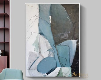 Large Original Abstract Painting Duck Egg Blue Canvas Grey Wall Art Minimalist Abstract Canvas Art Gray And Black Art Modern White Painting