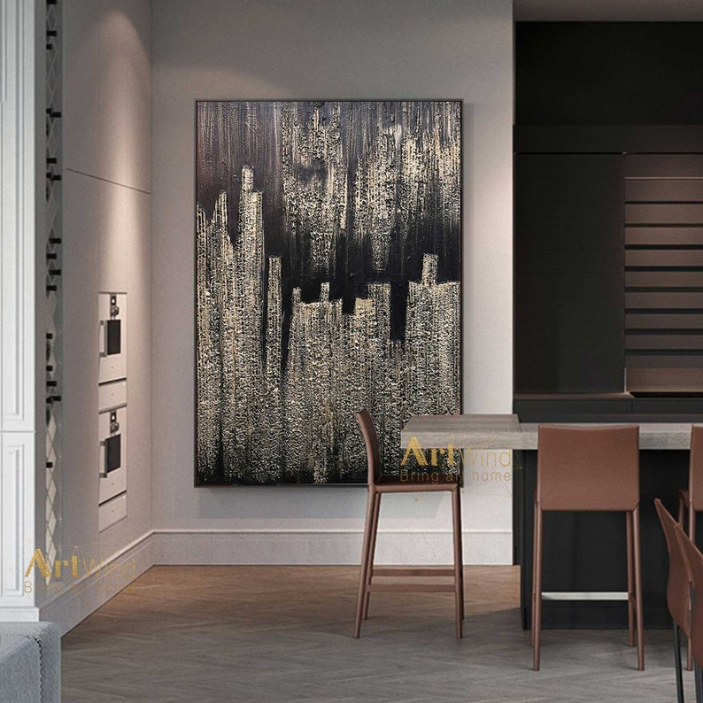 Gold Art Modern Abstract Art Black Painting on Canvas Huge image 0