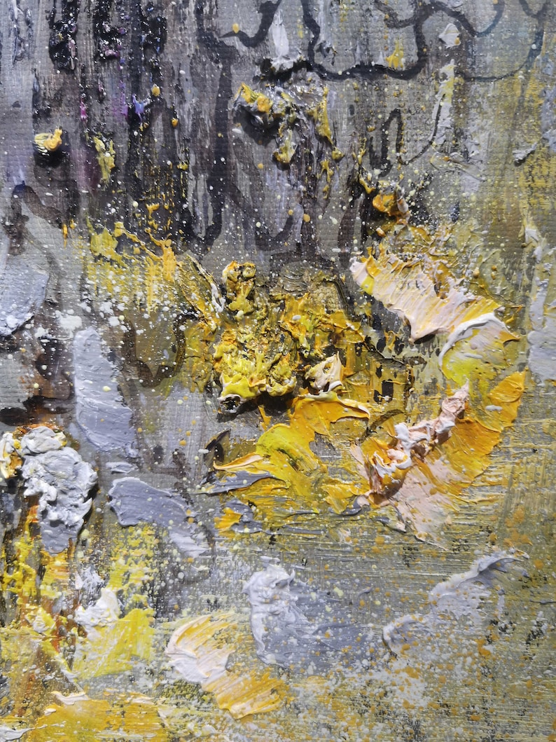 Large gold painting landscape painting abstract canvas art grey painting natural painting gold abstract painting for living room frame paint