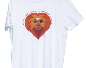 T shirt white heart pattern - Pete the Monkey