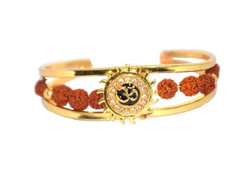 a25d8d86d6 RUDRADIVINE Rudraksha with American Diamond Brass Gold Meena Om Sun Cuff  Kada Bracelet for Men