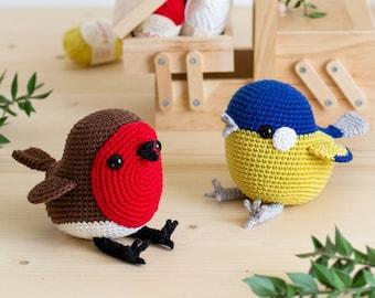 Ted the Red Robin | Amigurumi Crochet PDF pattern | Bonus pattern: Phil the Great Tit Bird