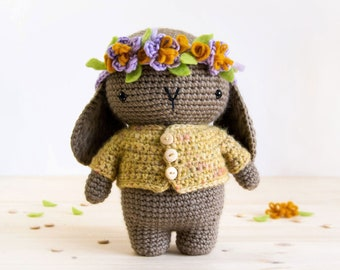 Spring Bunny | Amigurumi Crochet PDF pattern | With buttoned jacket and crochet flower crown with felt details