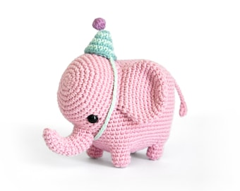 Elvie the Elephant | Amigurumi Crochet PDF pattern | Instruction to make shaped trunk without wire + party hat