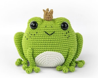 Prince Perry the Frog | Amigurumi Crochet PDF pattern | Frog Prince Charming with crochet crown