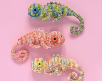 Riso the CHAMELEON | Crochet PDF pattern | amigurumi written pattern and step by step images