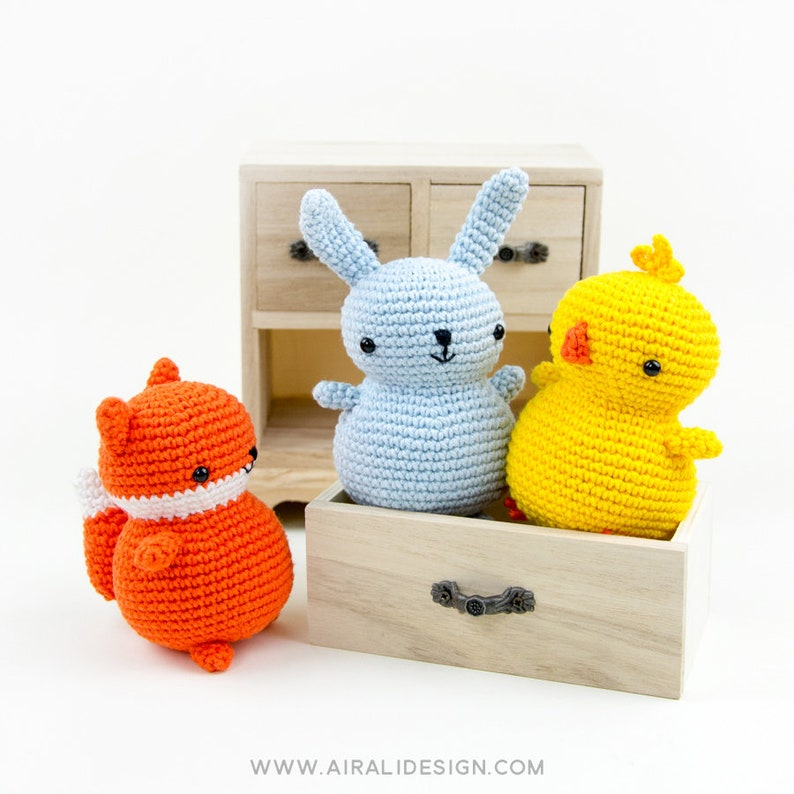 chick and fox Chubby friends: bunny amiguurmi farm animals perfect for your first amigurumi! Crochet PDF pattern