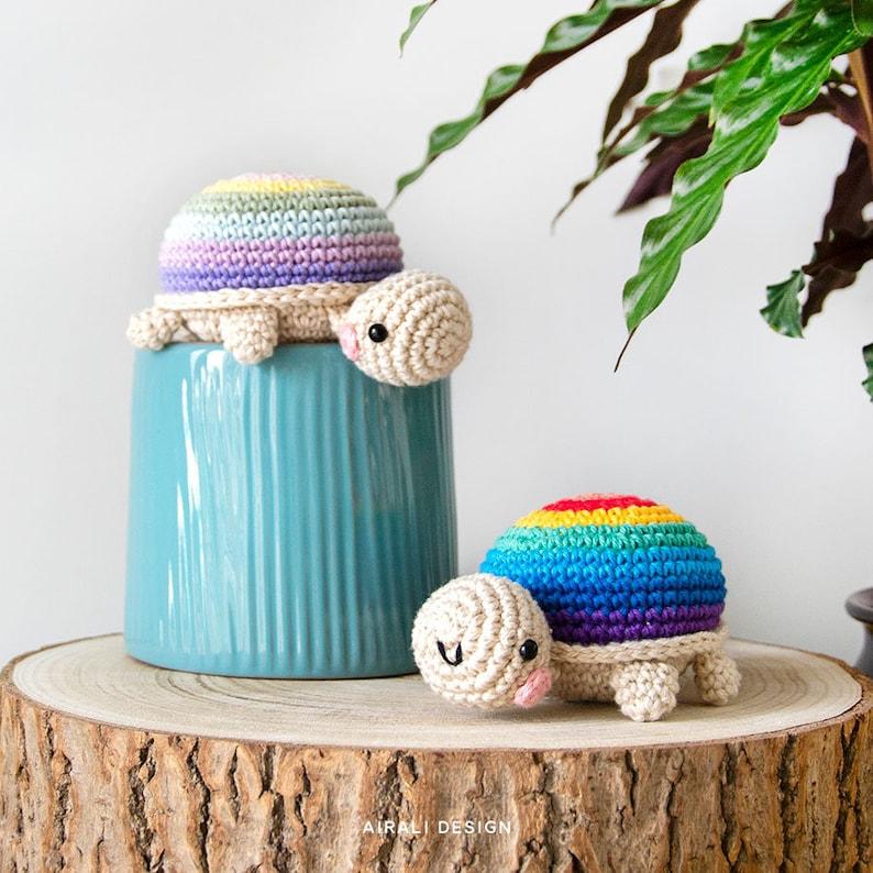 Rainbow Tortoise  Amigurumi Crochet PDF pattern  2 color image 0
