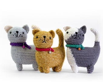 Ugo the Cat | Amigurumi Crochet PDF pattern | Instruction to make 1 color and 2 colors cats