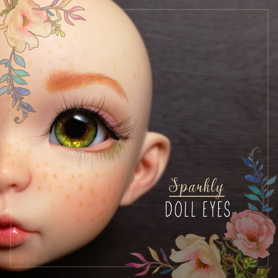 Realistic SPARKLY GREEN resin doll pair of EYEs 12/7mm for BJD dolls, toys, etc. Eyes with effects for bjd dolls. In stock, ready to ship