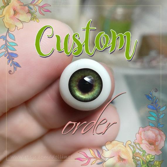 Realistic GREEN doll  EYES 6mm, 8mm, 10mm, 12mm, 14mm for BJD dolls, dolls of polymer clay,babydoll, reborn,toys, jewerlys. For custom order