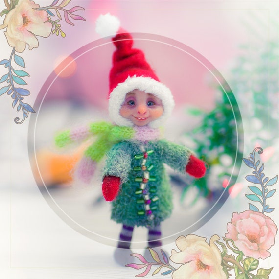 SOLD! Cristmas gnome art DOLL Nikolas unicue collectible handmade doll for cristmas GIFT with good mood :)