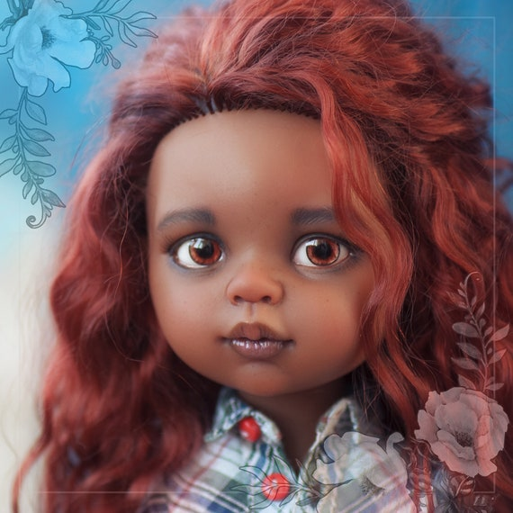 SOLD! Paola Reina OOAK custom Doll mulatto Jenna with natural hair tres goat and exclusive outfeet:denim suit,shirt and suede boots